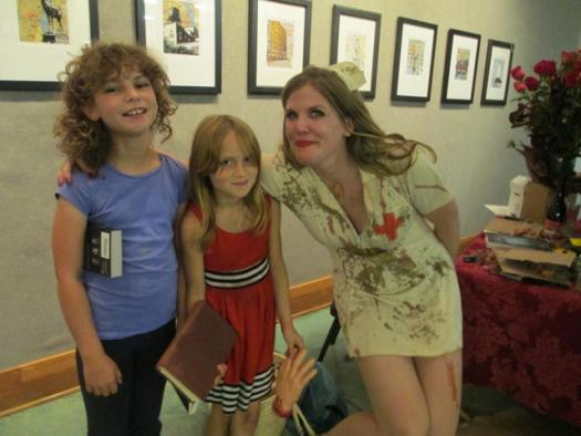 Chelsea Cain, with some of her younger fans.